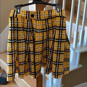 Yellow plaid skirt PLT